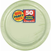 """Amscan 7"""" Leaf Green Big Party Pack Round Paper Plates, 6/Pack, 50 Per Pack (640013.115)"""