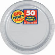 "Amscan Big Party Pack 7"" Silver Round Paper Plates, 6/Pack, 50 Per Pack (640013.18)"