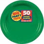 "Amscan Big Party Pack Paper Plates, 9""W Round, Festive Green, 5/Pack, 50 Per Pack (650013.03)"