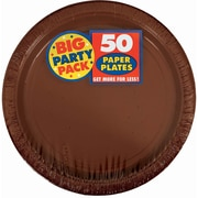 "Amscan 9"" Chocolate Brown Big Party Pack Round Paper Plates, 5/Pack, 50 Per Pack (650013.111)"