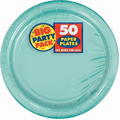 """""Amscan 9"""""""" Robins Egg Blue Big Party Pack Round Paper Plates, 5/Pack, 50 Per Pack (650013.121)"""""" 1970407"