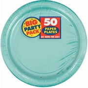 "Amscan 9"" Robins Egg Blue Big Party Pack Round Paper Plates, 5/Pack, 50 Per Pack (650013.121)"