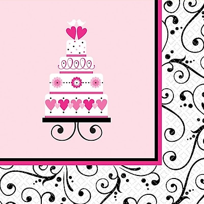 Amscan Sweet Wedding Bridal Shower Lunch Napkins, 6.5'' x 6.5'', 4/Pack, 36 Per Pack (711173) 1970688