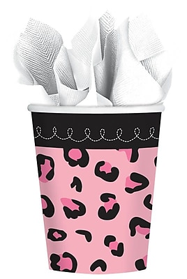 Amscan 9oz Sweet Safari Girl Baby Shower Paper Cups, 4/Pack, 18 Per Pack (731131) 1970891