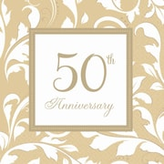 Amscan 50th Anniversary Elegant Scroll Lunch Napkins, Gold, 6.5''L x 6.5''W, 8/Pack, 16 Per Pack (5138511)