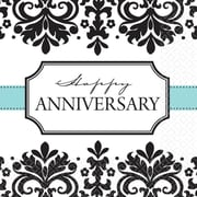 "Amscan Always and Forever Anniversary Lunch Napkins, 6.5"" x 6.5"", Black/White, 8/Pack, 16 Per Pack (5194611)"