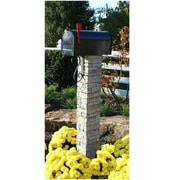 EyeLevel Mailbox Post with Decorative Scroll; Gray