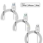 4FT Apple Certified Sync and Charge Lightning  Cable, White, 3/Pack