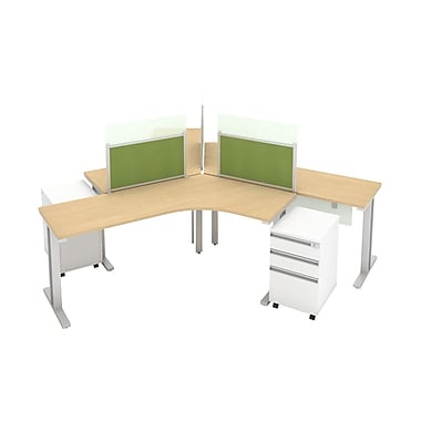 Bush Business Momentum Dog-Leg Right Desk 3-Person Configuration with (3) 3Dwr Mobile Pedestals in Natural Maple