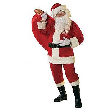 Velour Santa Suit with Faux Fur Trim, Standard