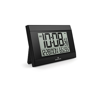 Marathon Digital Wall Clock with Temperature & Humidity, Black