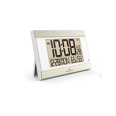 Marathon Digital Wall Clock with Temperature & Humidity, White