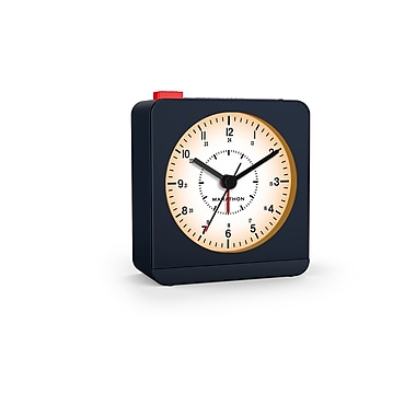 Marathon Analog Desk Alarm Clock with Auto-Night Light, Blue