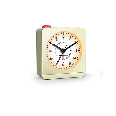 Marathon Analog Desk Alarm Clock with Auto-Night Light, Gold