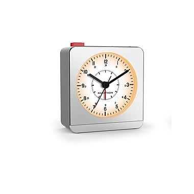 Marathon Analog Desk Alarm Clock with Auto-Night Light, Silver