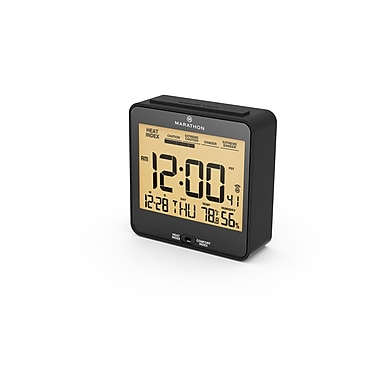 Marathon Atomic Auto-Night Light Desk Clock with Heat & Comfort Index, Black