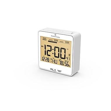 Marathon Atomic Auto-Night Light Desk Clock with Heat & Comfort Index, White
