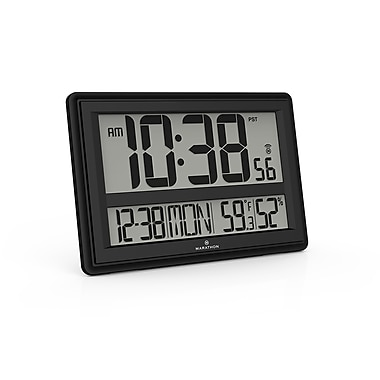 Marathon Jumbo Atomic Wall Clock with Table Stand, Black