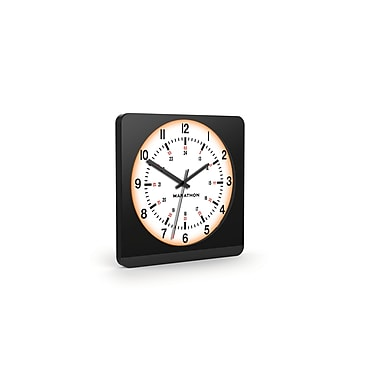 Marathon Auto-Night Light Analog Jumbo Wall Clock, Black Case with White Dial