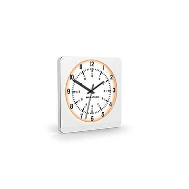 Marathon – Horloge murale surdimensionnée analogique avec veilleuse auto, boîtier blanc, cadran blanc