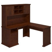 Bush Furniture Yorktown Collection 60W L-Desk with Hutch, Antique Cherry (YRK001ANC)