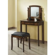 Monarch Specialties 2-Piece Vanity Set with Leather-Look Brown Seat, Walnut (I 1582)