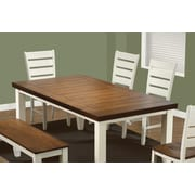 """Monarch Specialties 78""""L x 42""""W x 30""""H oak Dining Table with Leaf, Antique White (I 1852)"""