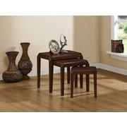 Monarch Specialties Three-Piece Nesting Table Set, Brown Oak Veneer (I 1944)