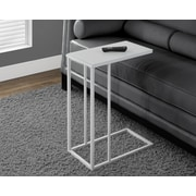 Monarch Specialties Metal Accent Table with Frosted Tempered Glass, White (I 3037)