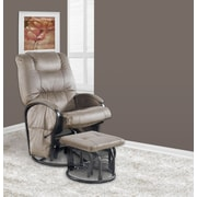Monarch Specialties 2-Piece Set with Micro Fabric Swivel Rocker/Recliner and Ottoman, Tan (I 7275)