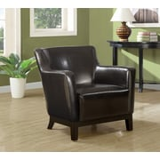 Monarch Specialties Leather-Look Fabric Accent Chair, Dark Brown (I 8035)