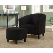 Monarch Specialties Microfiber Fabric Padded Accent Chair, 2-Piece Set, Black (I 8055)