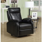 Monarch Specialties Bonded Leather Swivel Rocker Recliner, Black (I 8081BK)