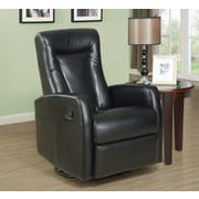 Monarch Specialties Bonded Leather Fabric Recliner/Swivel Rocker, Black (I 8082BK)