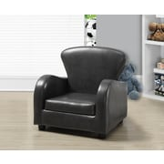 Monarch Specialties Leather-Look Juvenile Chair, Charcoal Gray (I 8141)