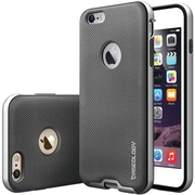 CASEOLOGY Envoy Series Leather Bound Case for Use with iPhone  6 Plus/6S Plus, Metallic Mesh Silver