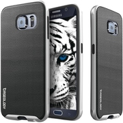 CASEOLOGY Envoy Series Leather Bound Case for Use with Samsung  Galaxy S6 , Metallic Mesh Silver (CGYGS6BMPMSHSV)