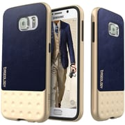 Caseology Riot Series Case with Leather Grip for Use with Samsung  Galaxy S6, Navy Blue (CGYGS6LBFNV)