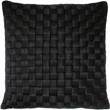 Edie Inc. Basket Weave Cord Throw Pillow; Black