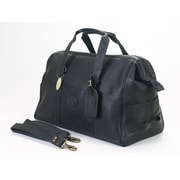 Claire Chase Luggage Vintage 15'' Leather Carry-On Duffel; Black