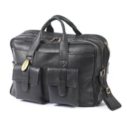 Claire Chase Platinum Leather Laptop Briefcase; Black