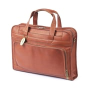Claire Chase Professional Leather Laptop Briefcase; Saddle