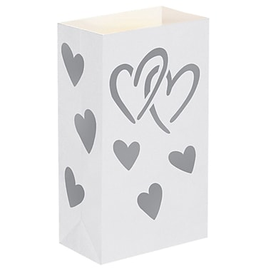 Luminarias Heart Luminaria Bags (Set of 24)