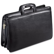 Jack Georges University Double Gusset Leather Briefcase; Black