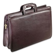 Jack Georges University Double Gusset Leather Briefcase; Brown