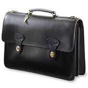 Jack Georges University Double Gusset 2 Turn Leather Briefcase; Black