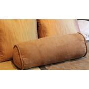 Blazing Needles Microsuede Bolster Pillow (Set of 2); Saddle Brown