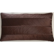 Edie Inc. Chevron Cord Lumbar Pillow; Chocolate