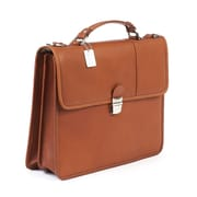 Claire Chase Tuscan Leather Laptop Briefcase; Saddle