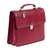 Claire Chase Tuscan Leather Laptop Briefcase; Red